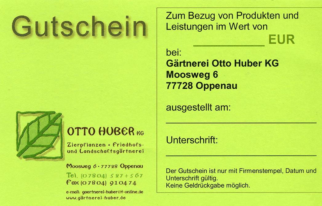Gutschein Gärtnerei Otto Huber Kg